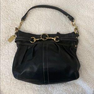Black leather hobo coach bag